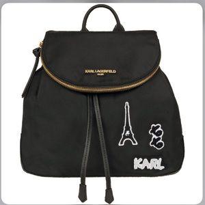 Karl Lagerfeld Paris Black Backpack w Zipper Top